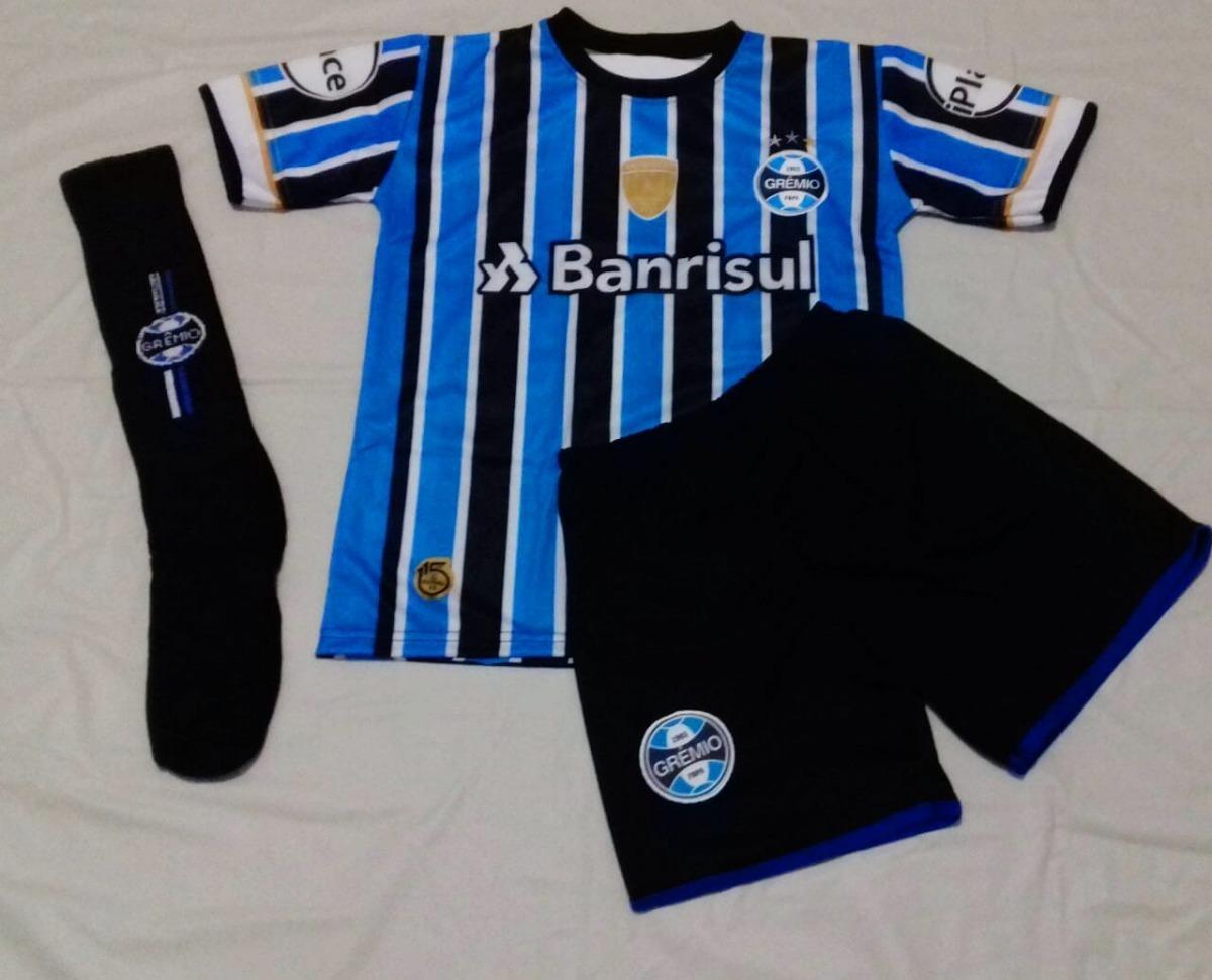 conjunto grêmio infantil short-camisa futebol c meião preto. Carregando zoom . f30308ccc029a