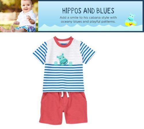 conjunto gymboree hipopotámo 6-12 meses blusa + short