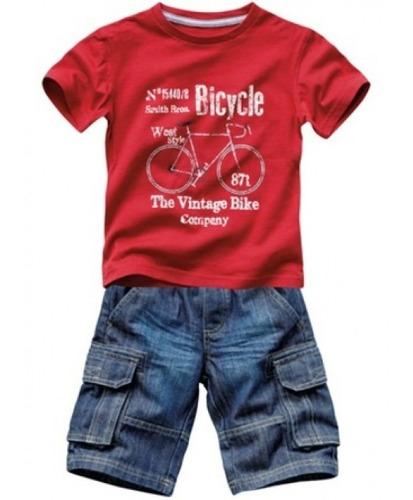 conjunto infantil 2 peças camiseta + bermuda jeans  bicycle