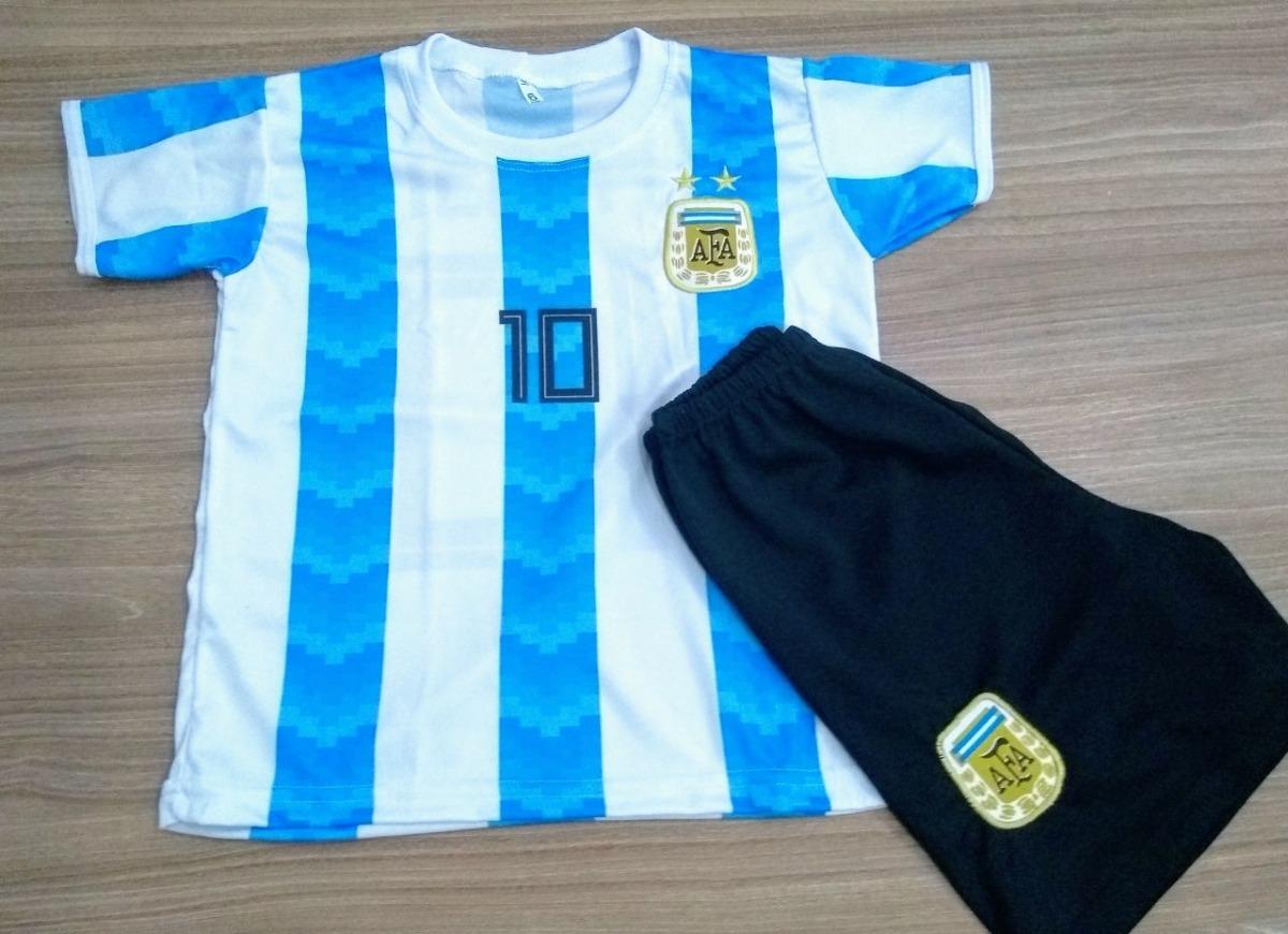 Conjunto Infantil Argentina Messi Novo 2018 Uniforme Copa - R  28 d9408bd14266c