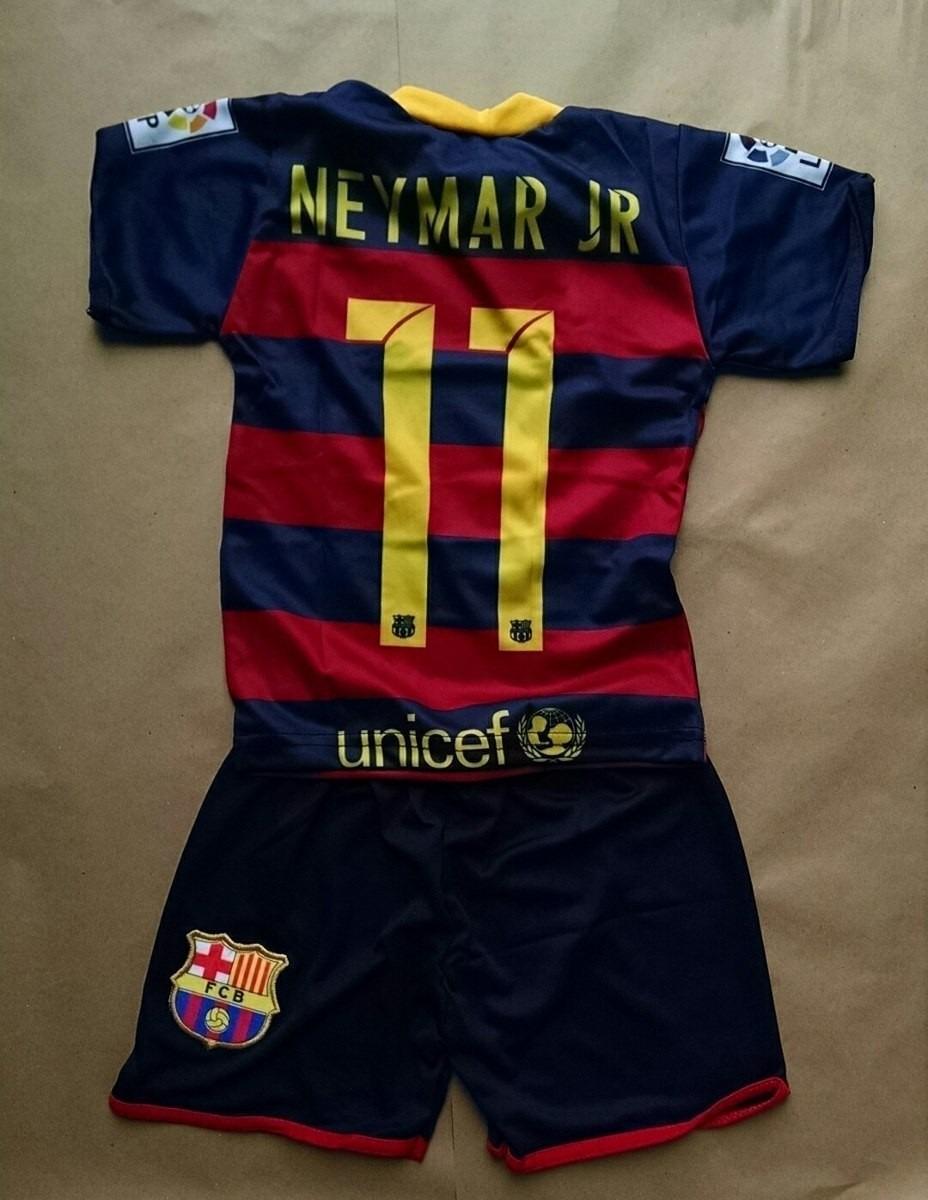 13e43c90f5 conjunto infantil barcelona novo azul shot e camiseta neymar. Carregando  zoom.