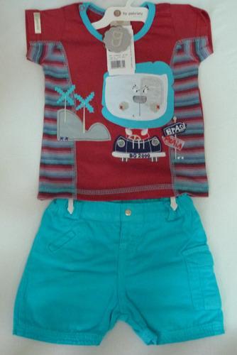 conjunto infantil bebê menino com bermuda de sarja