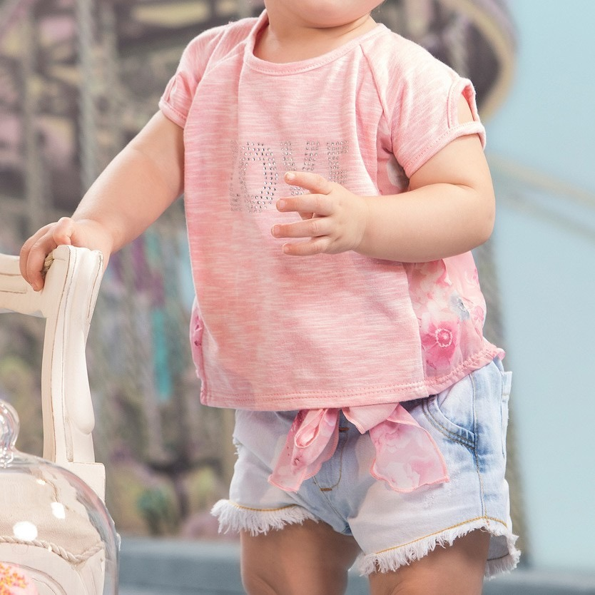 91e0e514cd conjunto infantil blusa e short goiaba jeans sonho mágico. Carregando zoom.