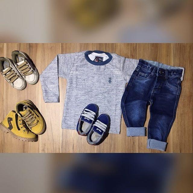 81c1501b9 Conjunto Infantil Blusa Tricô Calça Jeans Moletinho - R$ 139,90 em ...
