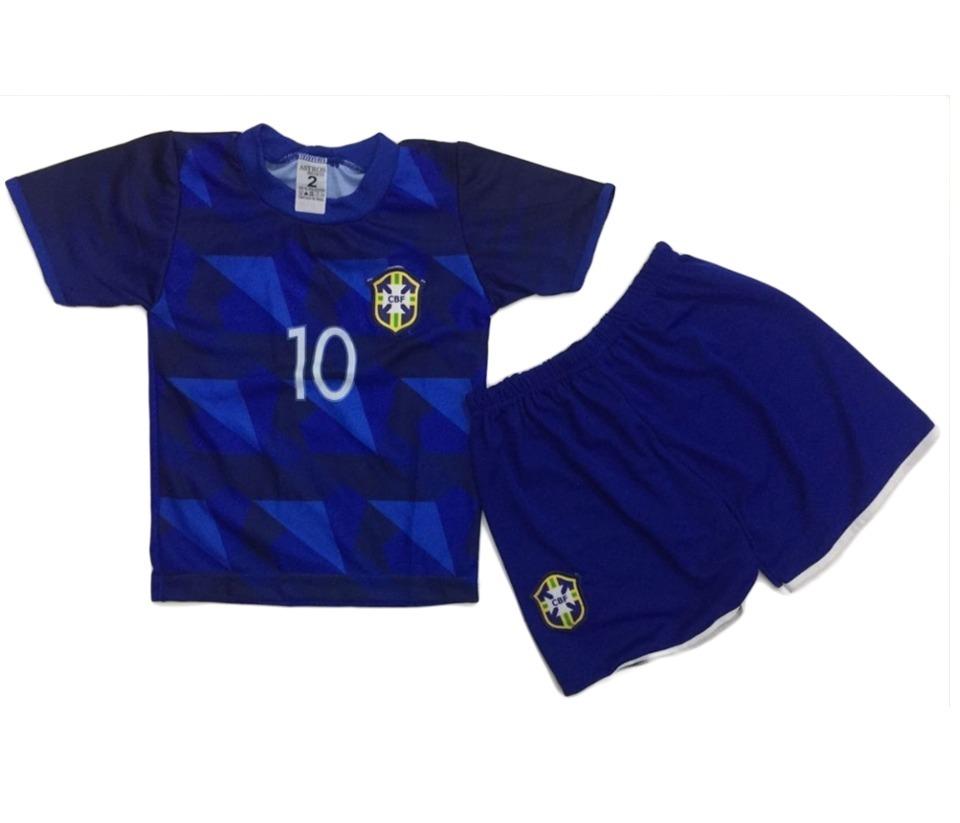 442c6772d conjunto infantil brasil azul uniforme seleção. Carregando zoom.