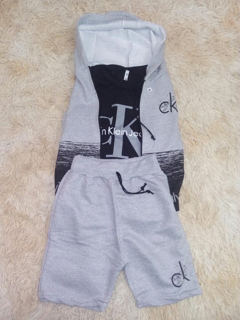 4a9387b42fd0e conjunto infantil calvin klein - camiseta, colete e bermuda. Carregando  zoom.