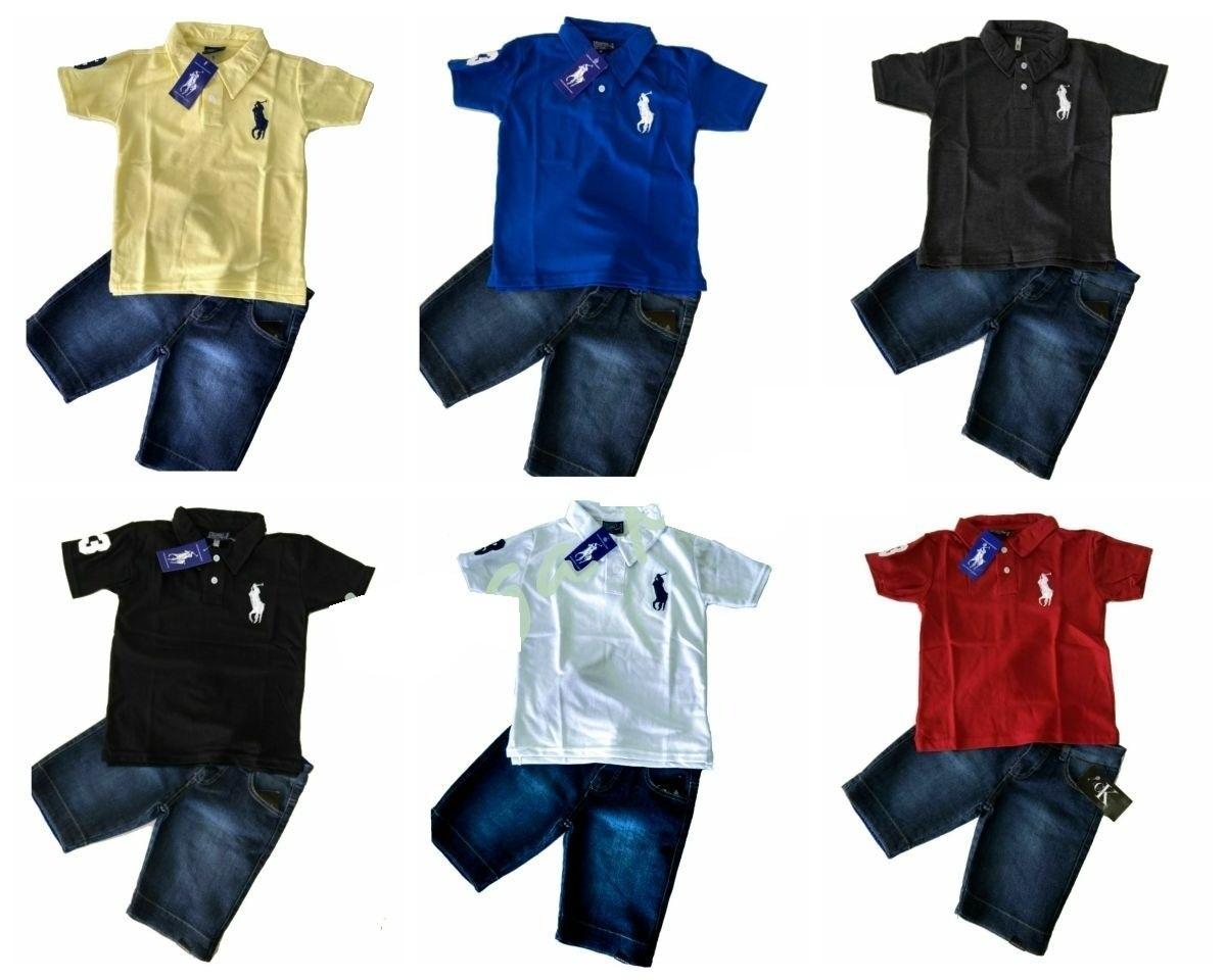 conjunto infantil camisa polo + bermuda jeans. Carregando zoom. 4aa178d7267e2