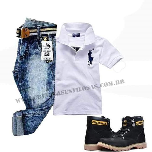e8798f93db Conjunto Infantil Camisa Polo Calça Jeans - R  89