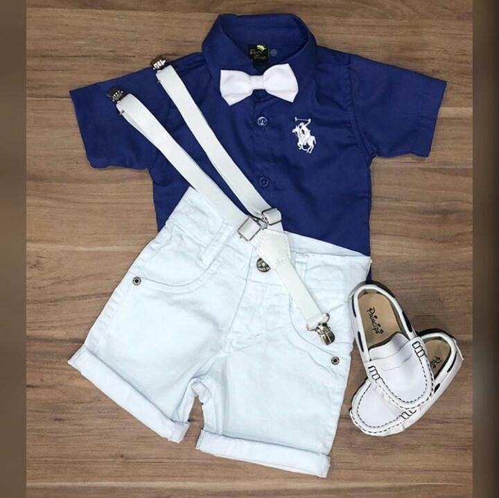 69eb9c0964173 Conjunto Infantil Camisa Social Com Bermuda Menino 1 À 6 - R  119