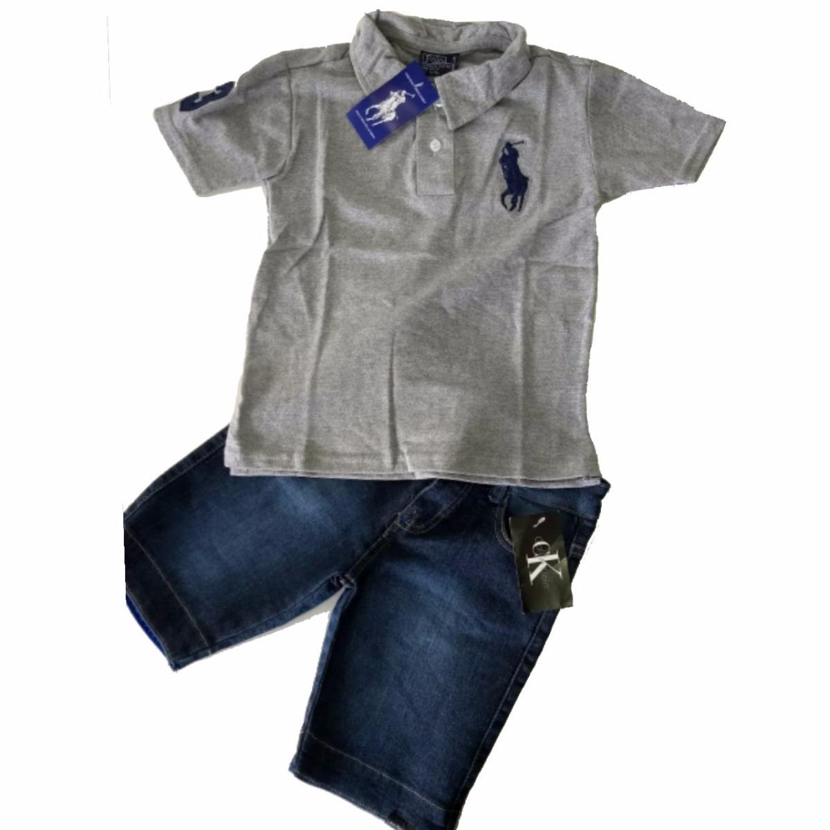 conjunto infantil camiseta polo bermuda jeans menino camisa. Carregando  zoom. d0b3a259a2275