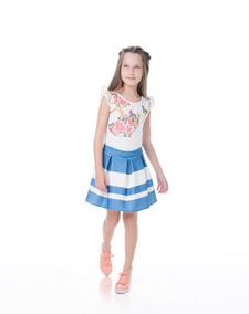 d917651ad4 Conjunto Infantil Criança Saia Blusa Renda Gabriela Aquarela