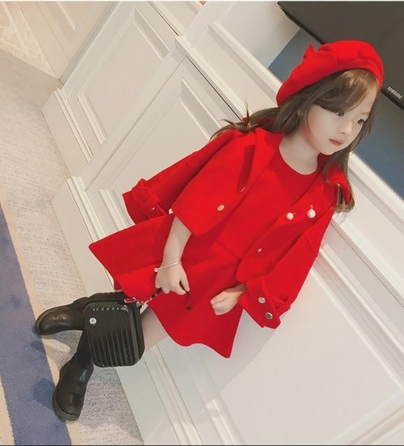 1915ec0206065 Conjunto Infantil De Lã Batida (vestido+jaqueta+boina) - R  249