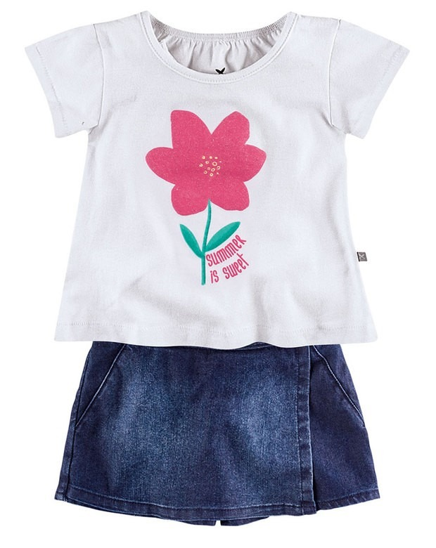 ecb5a87ed5 Conjunto Infantil Feminino Hering Kids Blusa E Shorts Saia - R  78 ...
