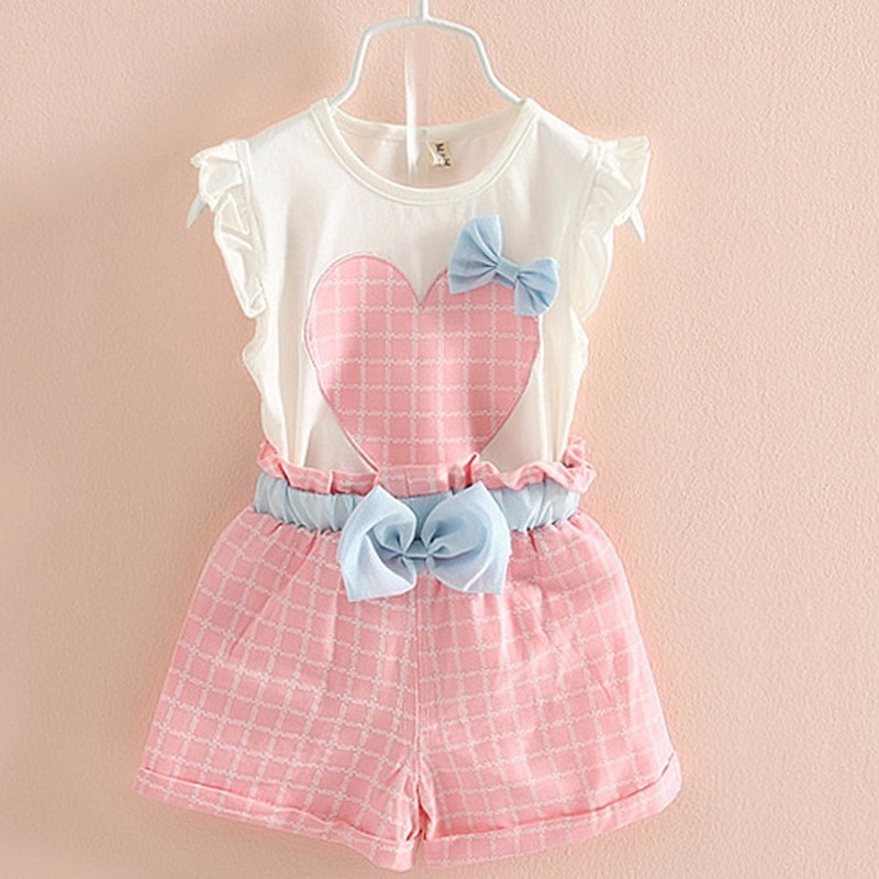4d9ecd0a52cca5 Conjunto Infantil Feminino Infantil Rosa - Short + Blusinha