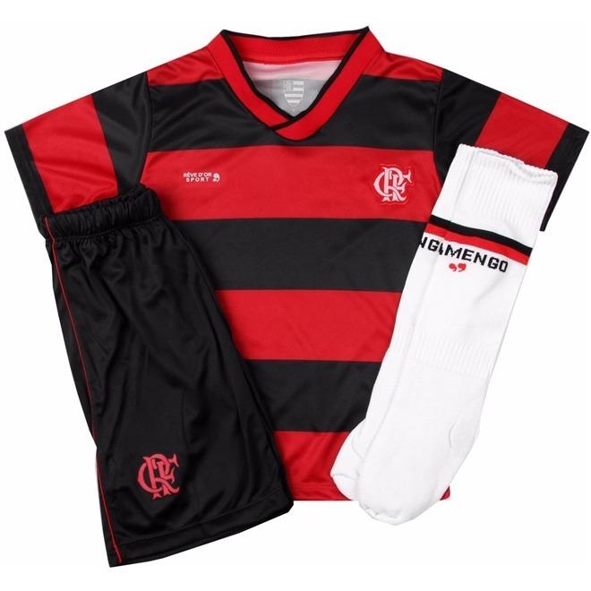 Conjunto Infantil Flamengo Uniforme Dry Oficial - R  132 7b3a7a95fbd29
