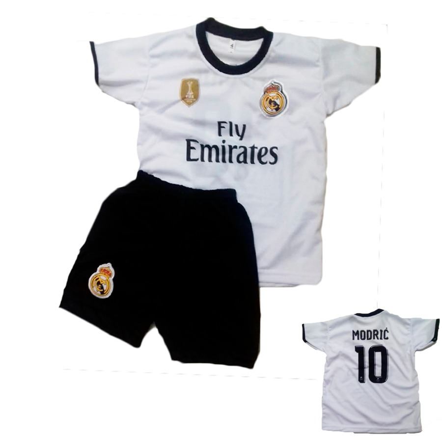 conjunto infantil futebol real madri uniforme modric 2019. Carregando zoom. a75af77a995c4