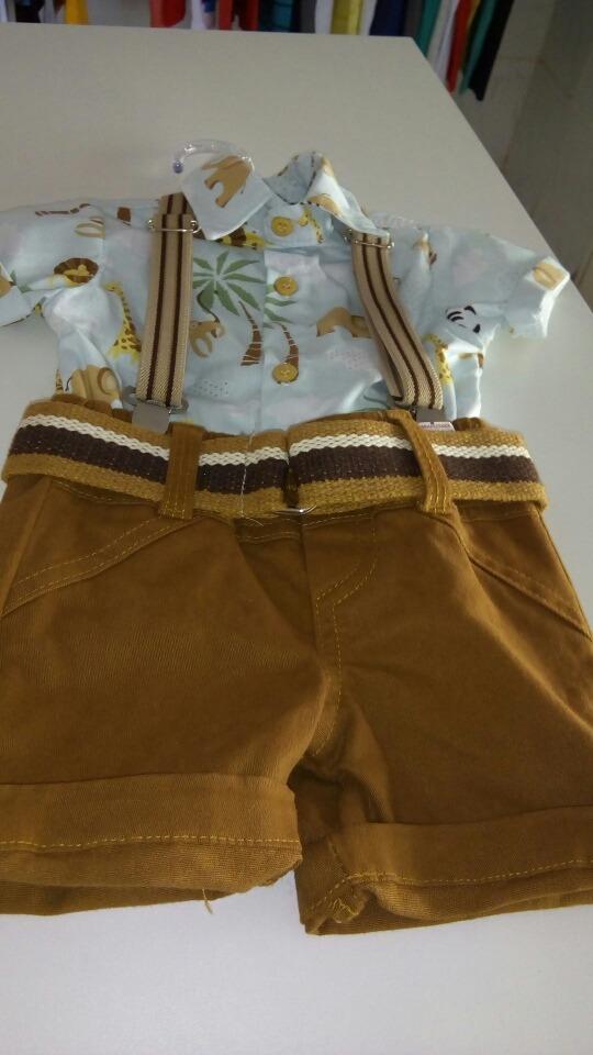 9475dcb8894 Conjunto Infantil Masculino Bermuda Camisa E Cinto Suspensór - R ...
