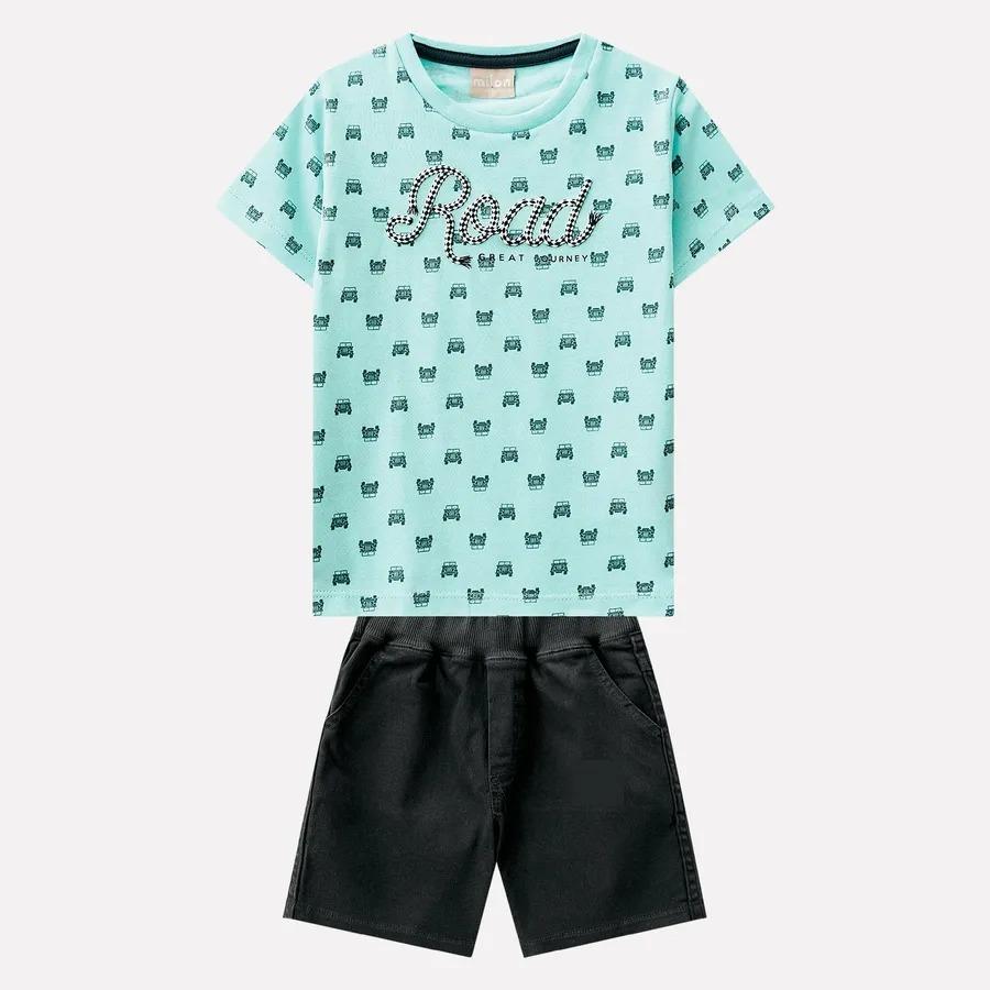 607f3ae61570d5 Conjunto Infantil Masculino Camiseta + Bermuda Milon
