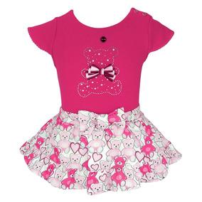 6ba34b6d77 Conjunto Infantil Matinée Blusa E Short Saia Ursinhos Rosa