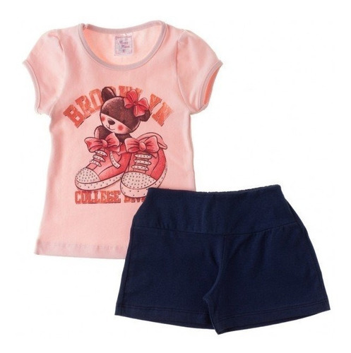 conjunto infantil menina blusa e short cup cake