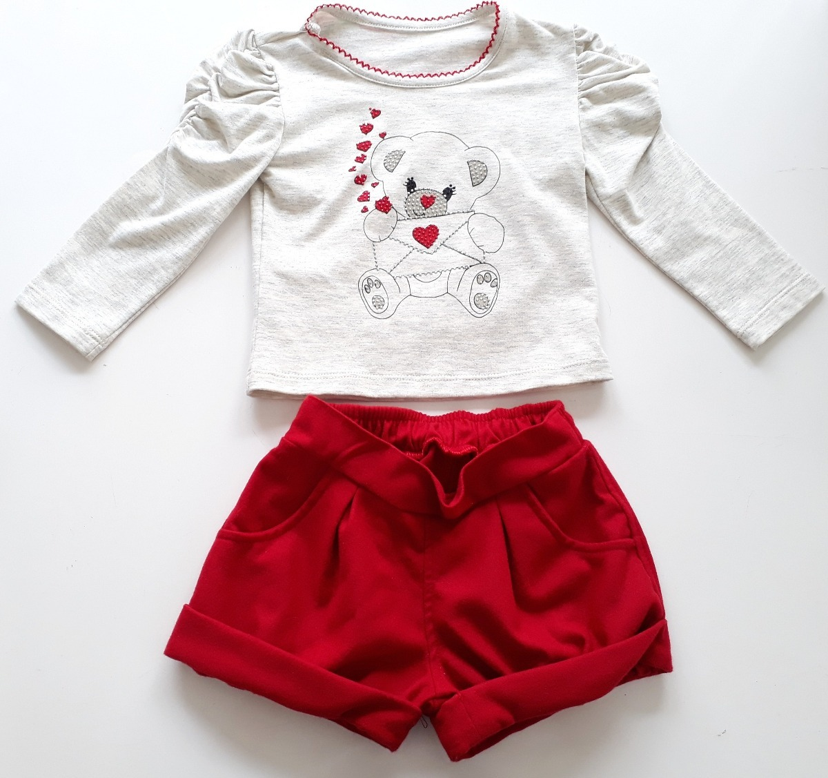 conjunto infantil menina blusa e short vermelho nina menina. Carregando  zoom. c88918f914aa6