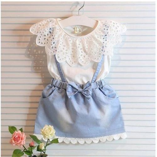 conjunto infantil menina vestido algodão blusa rendinha