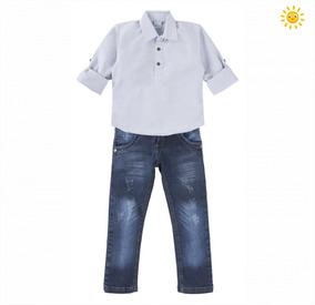 efb06e0279 Kit Conjunto Jeans Com Camisa Polo - Calçados