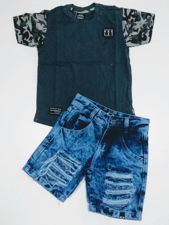 Conjunto Infantil Menino Camiseta E Bermuda Jeans Oakley Fgj - R ... 84ca30cf95e73