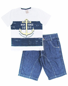 fa1f04ddbf3 Conjunto Infantil Menino Jeans Verão Âncora - Boca Grande