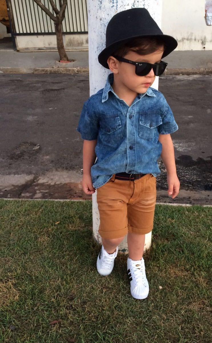 003af85378 conjunto infantil menino masculino bermuda e camisa jeans. Carregando zoom.