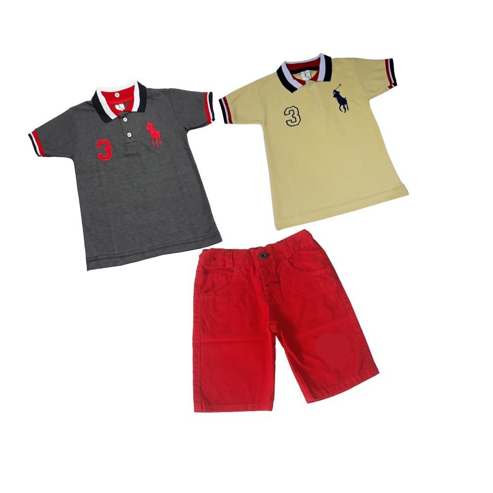 conjunto infantil menino verão festa blusa polo short sarja. Carregando zoom . 9df0f99bea4
