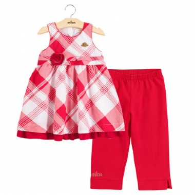 Conjunto Infantil Milon Menina Vermelho Xadrez - R  89 30eba07cd3f87