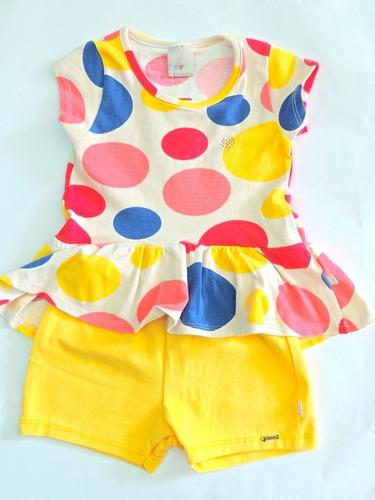 conjunto infantil puc menina amarelo com bolinhas coloridas