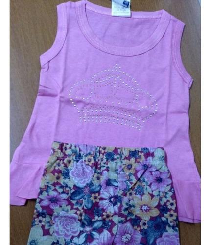 conjunto infantil regata short feminino tamanhos 1-2-3-4-6-8