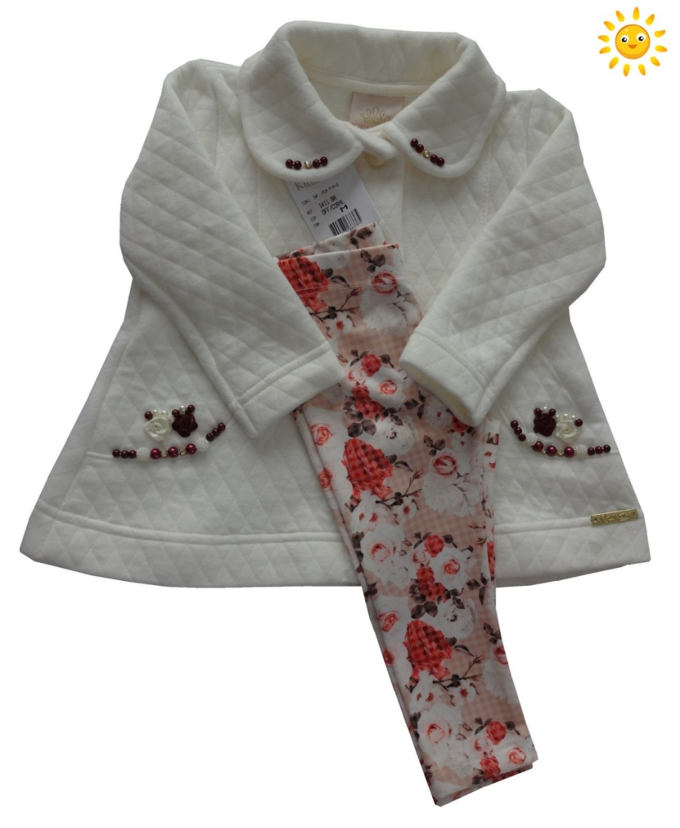 458cb9a68 conjunto infantil roupa menina inverno casaco e legging kiki. Carregando  zoom.