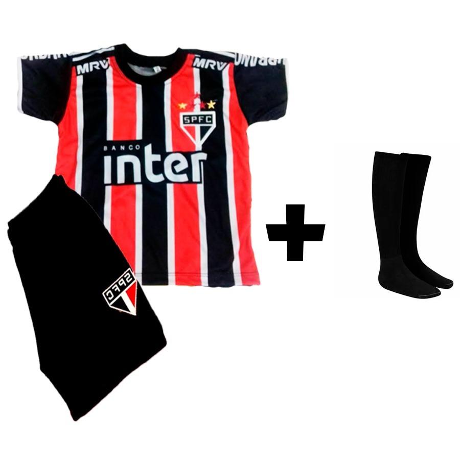 Conjunto Infantil São Paulo Uniforme + Meião Infantil - R  48 f640ea6c9fe55