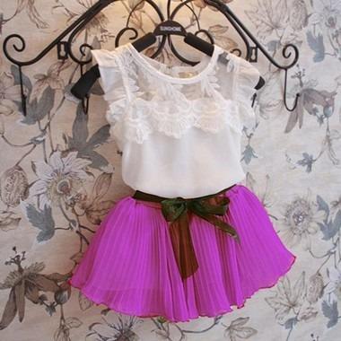 conjunto infantil social saia + blusa pronta entrega