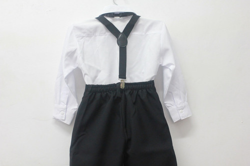 conjunto infantil suspensório camisa calça gravata pajem