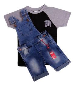 39506f0101517d Conjunto Jardineira Macacão Jeans Masculino Infantil Menino