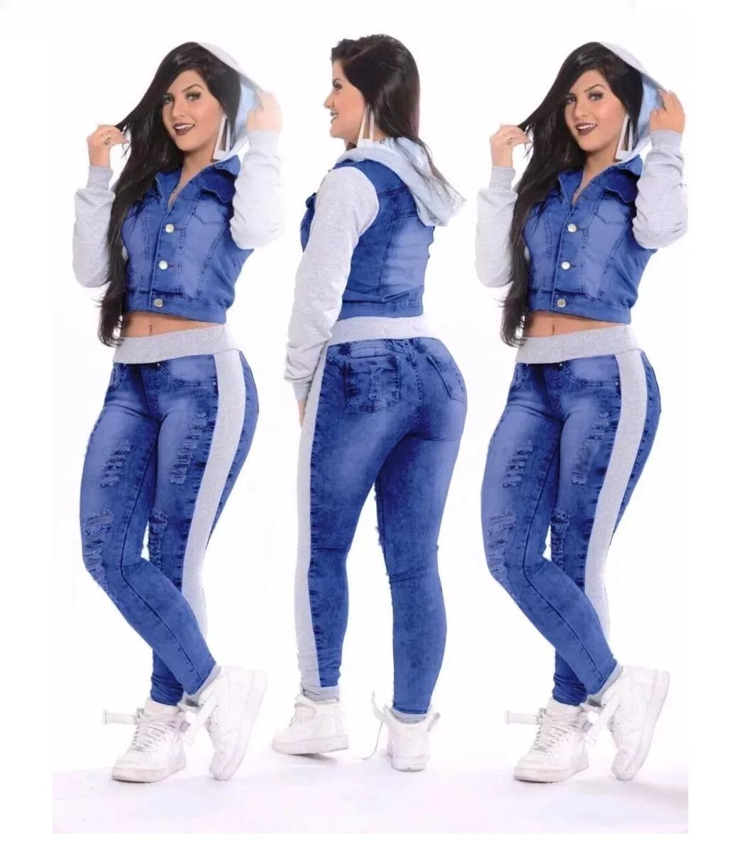 9c121cf7d Conjunto Jeans C/ Moletom Feminino Destroyed Jaqueta + Calça - R ...