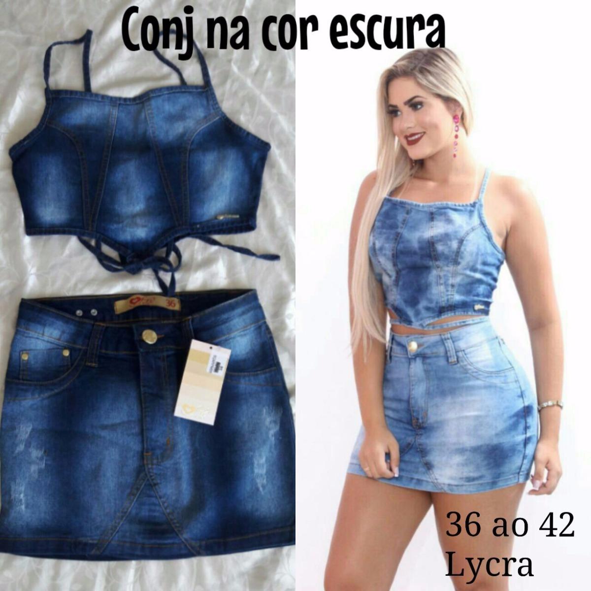 310216cc790ea Conjunto Jeans Saia E Cropped - R$ 149,90 em Mercado Livre