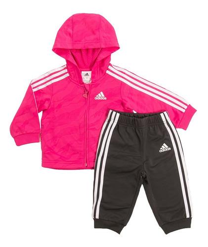 conjunto jogger shiny hooded fucsia adidas