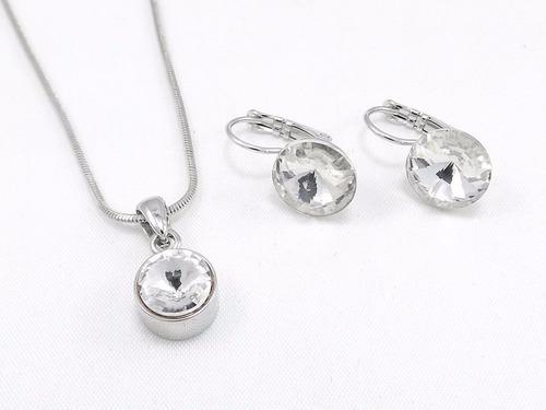 conjunto joyas collar +aros por mayor piedra swaroski
