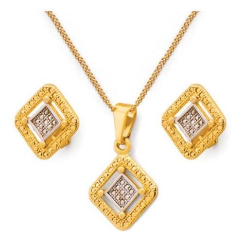 conjunto joyas laminado en oro rombos -set mujer regalo