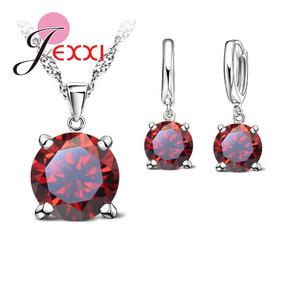 7678d007ffc4 Conjunto Joyería Collar + Aretes Swarovski Rojo Plata 925