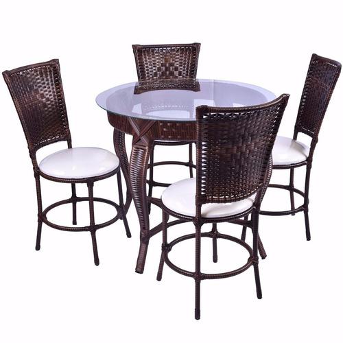 Conjunto junco mesa redonda 4 cadeiras area cozinha for Piscina 90cm altura