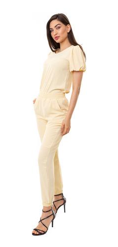 conjunto kinara crepe manga curta amarelo