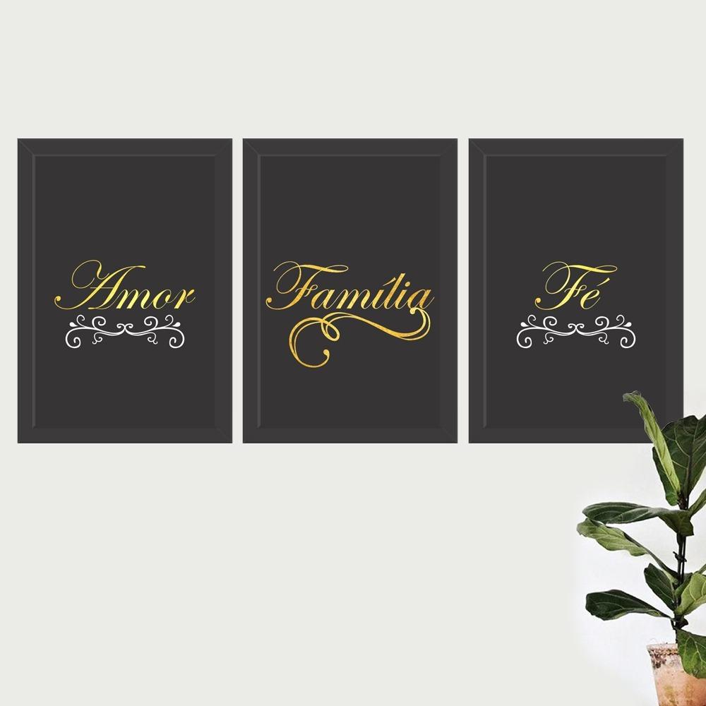 Conjunto Kit 3 Quadros Frases Amor Fe Familia Fundo Preto R 124