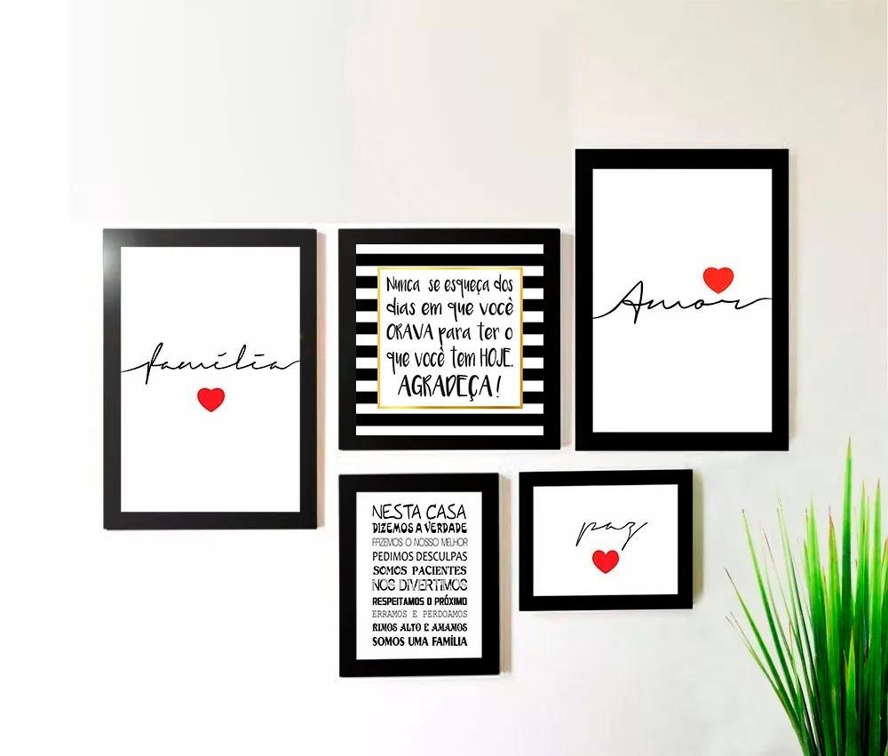 Conjunto Kit 5 Quadros Amor Família Paz Frases Sala Promoção R