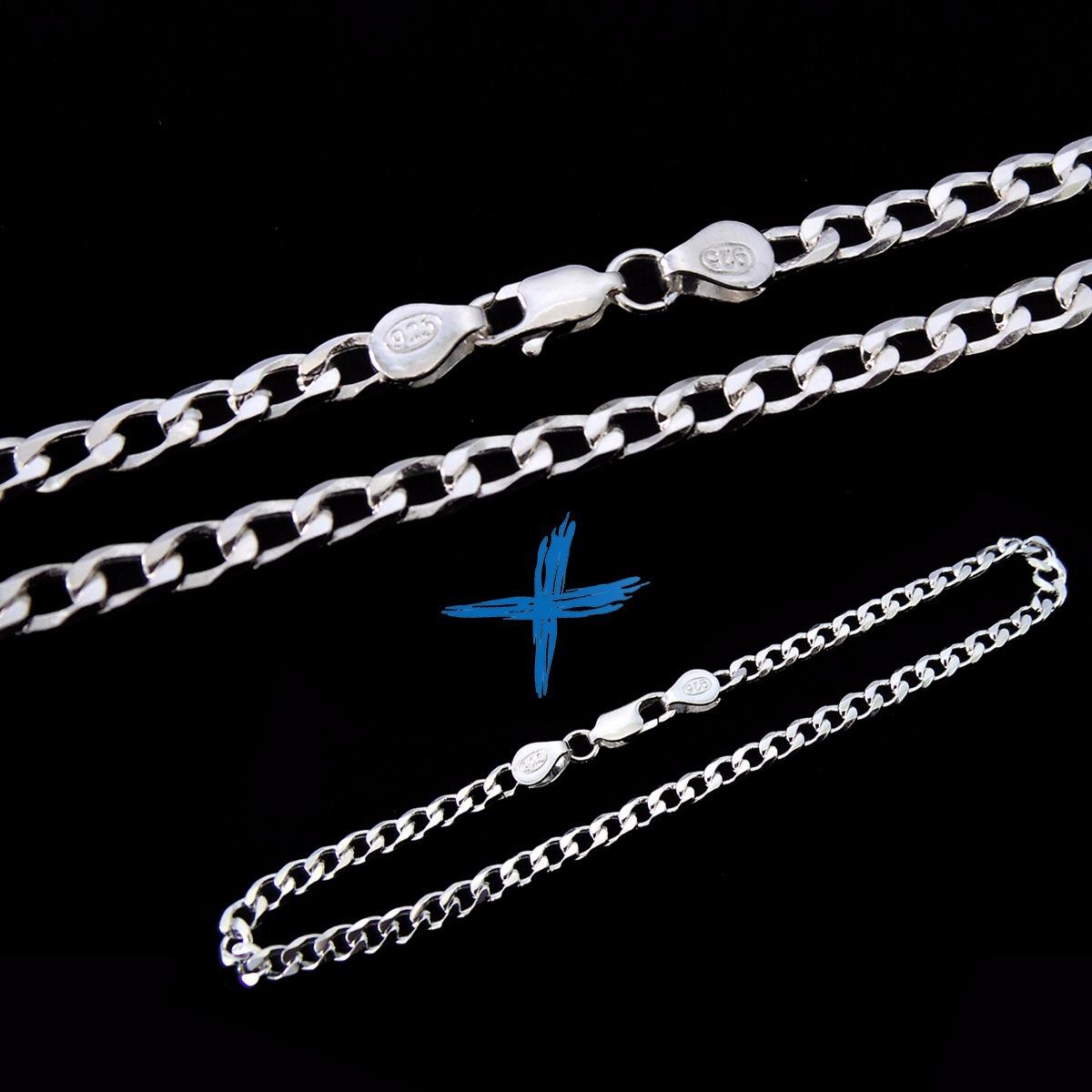 95499c4c719 conjunto kit corrente + pulseira grumet masculino prata 925k. Carregando  zoom.